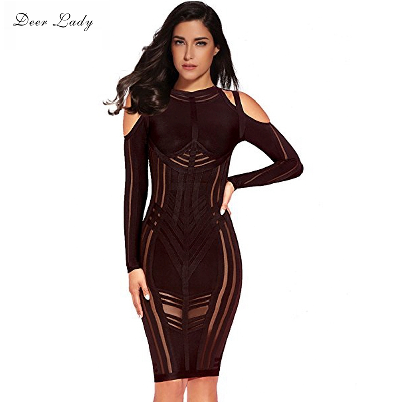 Deer Lady Vestido Bandage Bodycon Dress 2017 Long Sleeve Off The Shoulder Dress Rayon Black Elegant
