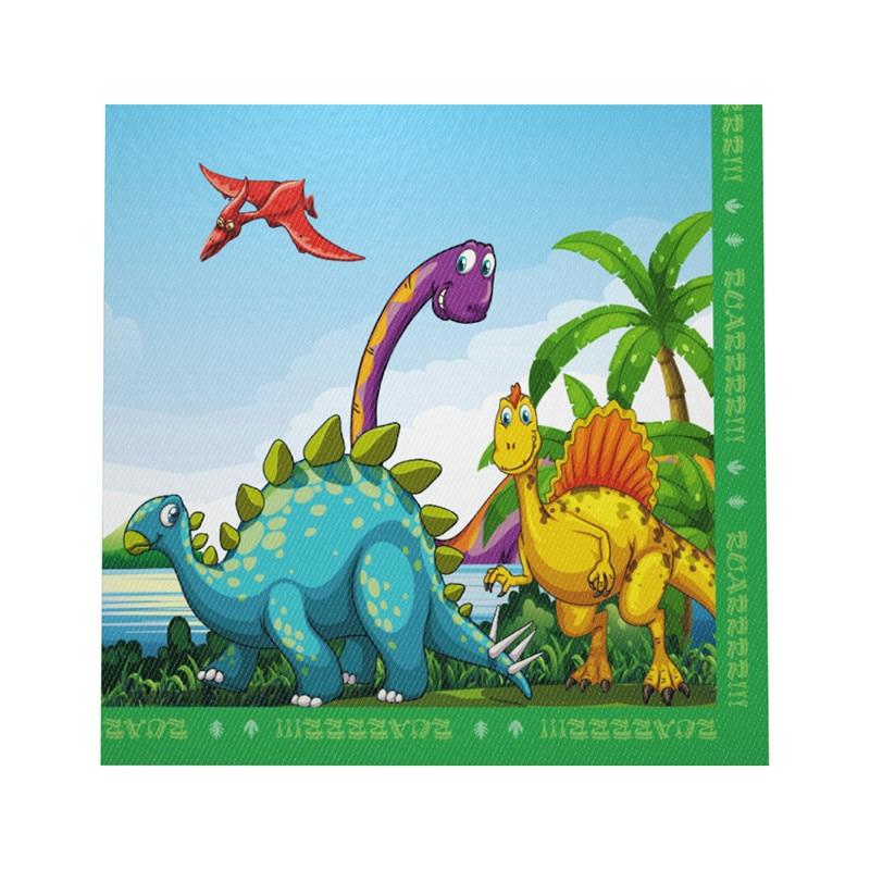 10pcs/set New Cartoon Dinosaur Theme Disposable Napkins For Kids Happy Birthday Party Tableware Green Napkins Party Supplies