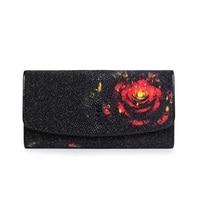 Fancy Flower Designer Genuine Stingray Skin Female Long Wallet Exotic Leather Large Phone Wallet Card Holders Lady Clutch Purse