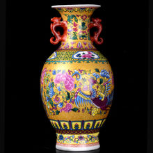 Hand-painted Painted Porcelain Binaural Phoenix Vase w Qianlong Mark
