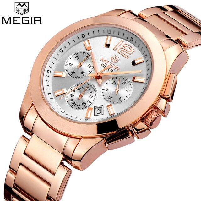 MEGIR zegarek damski Top marka luksusowy chronograf stalowy zegarek damski klasyczny biznes kwarcowy damski zegarek na rękę relogio feminino 5006