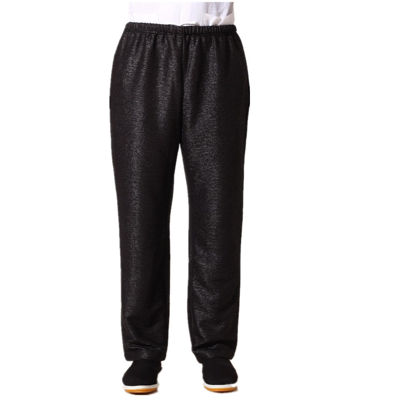 New Arrival Black Chinese Mens Kung Fu Trousers Cotton Linen Pants Wu Shu Clothing Size S M L XL XXL XXXL MN005