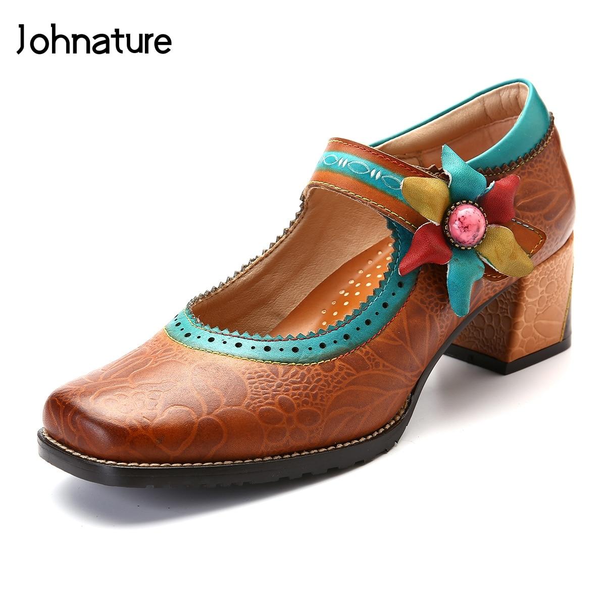 Johnature 2019 New Spring autumn Genuine Leather Square Toe Square Heel Retro Flower Appliques Handmade Women