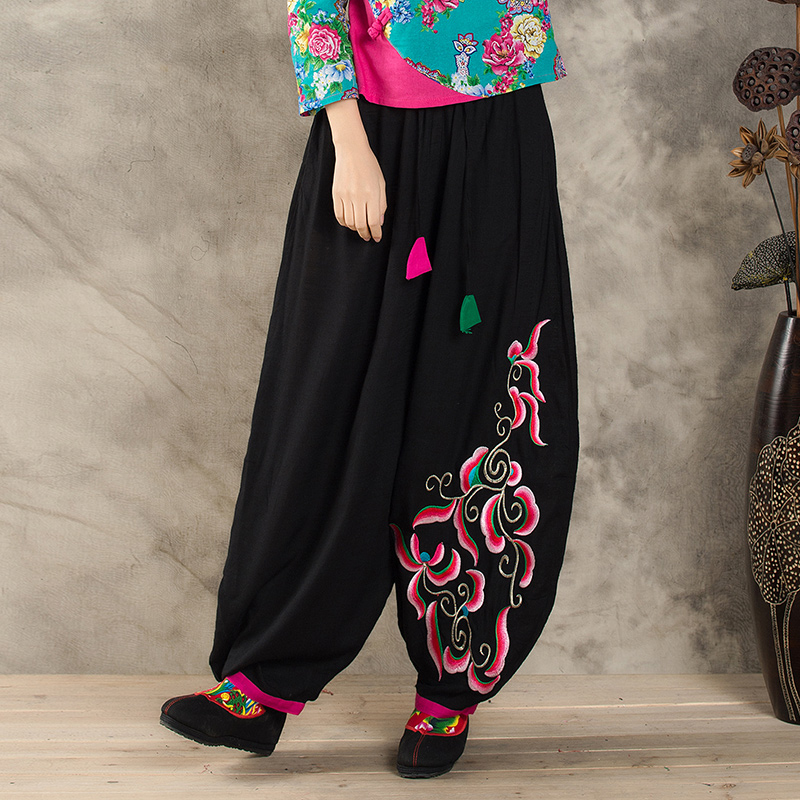 Retro autumn folk style trousers casual large size Bloomers women loose   pants   cotton and linen embroidery   wide     leg     pants