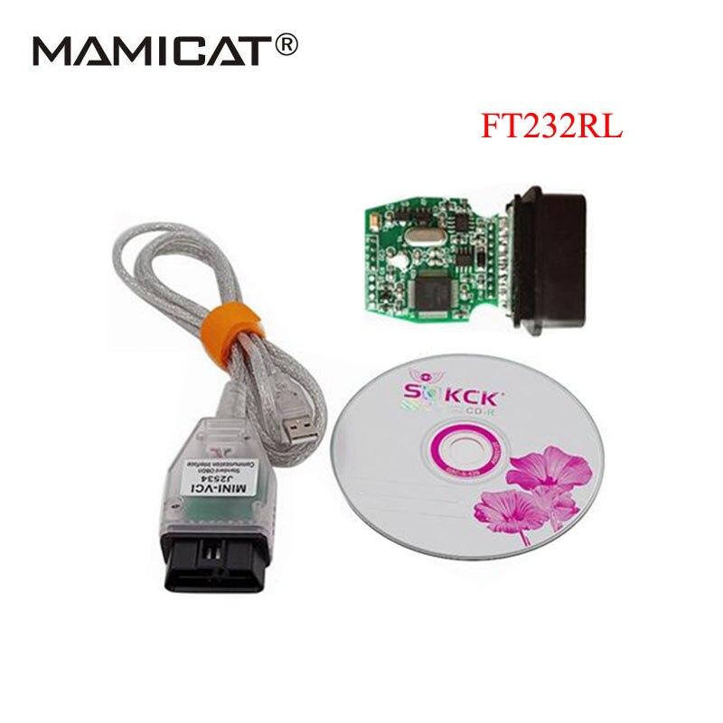 2017 FT232RL Puce MINI VCI J2534 V12.00.127 Auto Voiture Câble De Diagnostic OBD OBD2 Diagnostic Interface Pour Toyat TIS Techstream