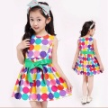 2016 new fashion girls clothes Girls round neck sleeveless summer dress The rainbow dot princess dress children dress