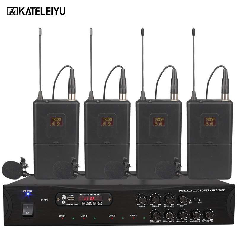Amplifier Microphone All-in-one Machine 900B 2-channel Wireless Bluetooth Built-in FM Radio USB SD Card MP3 Playback High Bass A