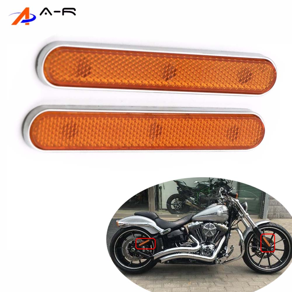 1 Paar Voor Achter Reflector Reflecterende Case Stickers Voor Harley Sportster Xl 883 1200 48 Road Glide Softail Fatboy Cafe Racer