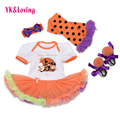 New 2016 Kids Clothes Easter Romper Tutu Dress Matching Accessories Infant Clothing Girls Sets 4pcs Bodysuit Sets for 0-2years