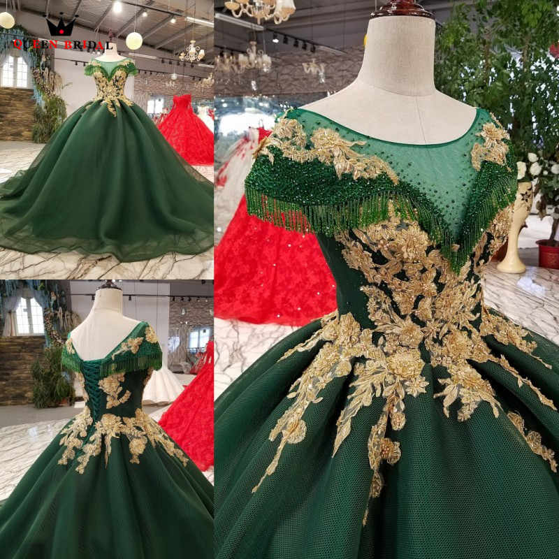 Custom Made Ball Gown Fluffy Crystal Beaded Lace Luxury Green Evening Dresses 100% Real Evening Gown 2018 Vestido De Festa KC31