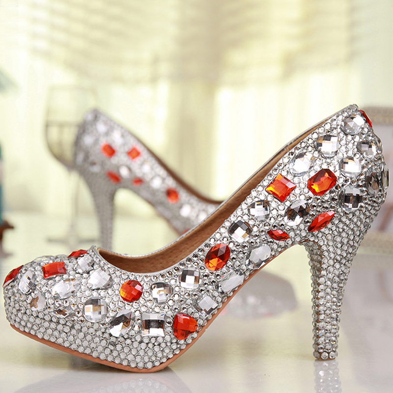 Aliexpress Free Shipping Luxury Handmade Silver Rhinestone Women Shoes Wedding Whole Bridal Low Heels Bridesmaid Red Crystal Party Evening