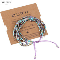 Kelitch Colorful Seed Beads Crystal Partysu Pulsera Adjustable Rope Chain Multilayers Handmade Bracelets China AZ1W 15044