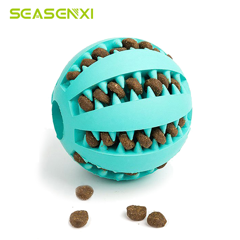 Pet Dog Toys Interactive Natural Rubber Ball Cat Puppy Chew Toy Food Dispenser Ball Bite-resistant Clean Teeth Pet Playing Balls