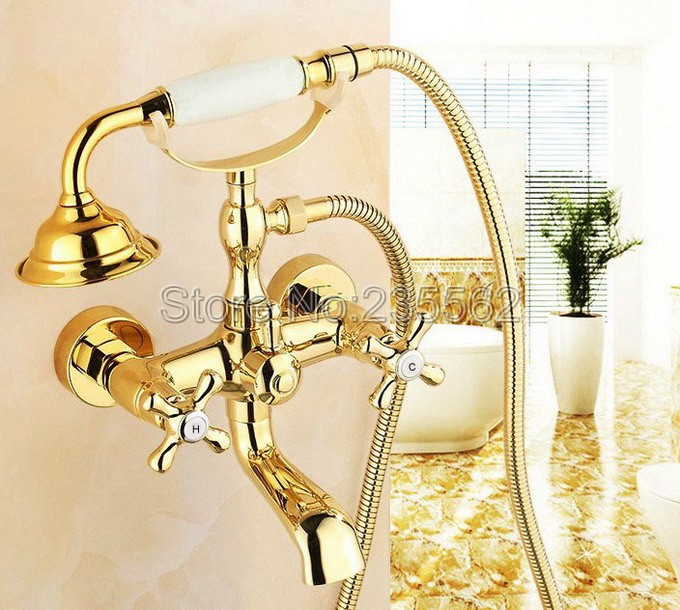 Golden Brass Bathroom Shower Bathtub Faucet Wall Mounted Dual Handle Cold & Hot Water Mixer Tap + Ceramic Handheld Shower ltf123 china sanitary ware chrome wall mount thermostatic water tap water saver thermostatic shower faucet