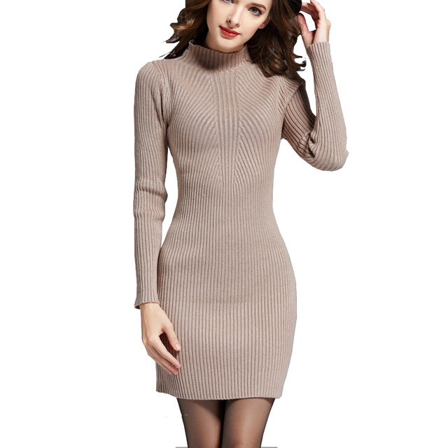 f774276d6e2c Vestidos de Camisola Para As Mulheres da moda Outono Inverno Quente Manga  Comprida Gola Alta Malhas