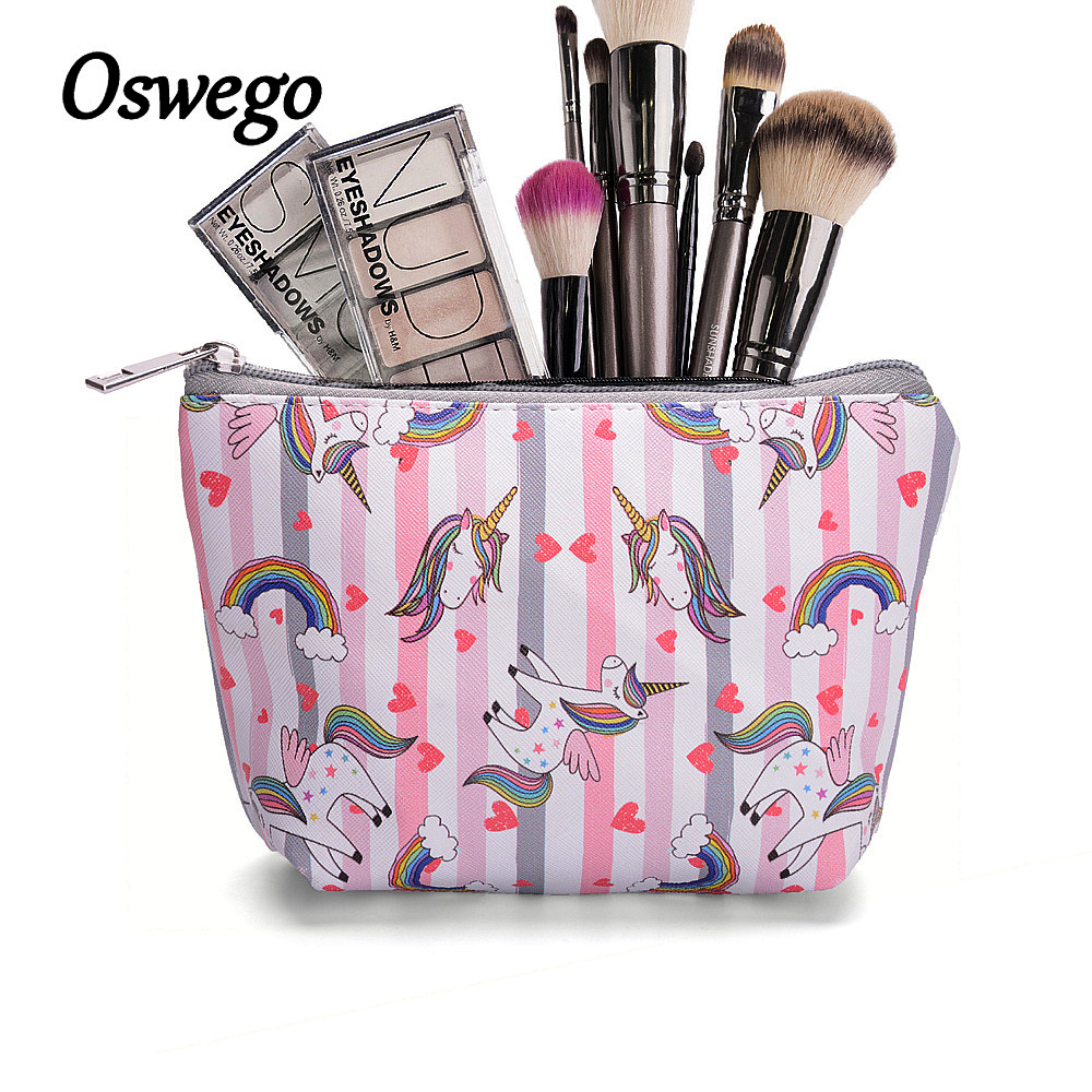 Oswego PU Cosmetic Bag Unicorn Cartoon Waterproof Women Zipper Fashion Small Portable Fashion Travel Necessary for Women Makeup