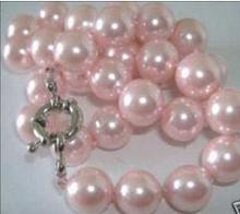 Hermoso! 12mm Pink Mar Del Sur Shell Collar de Perlas de Joyería de Perlas Collar de Cadena de Cuerda Granos de la Perla de Piedra Natural Regalo Muchacha de Las Mujeres