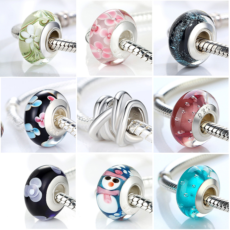 Hot Sale Silver Color Black European Murano Glass Beads Fit Charm Bracelets Bangles For Women Beads 925 Silver Jewelry Perles