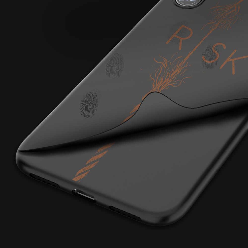 موضة رسالة اللوحة نمط الهاتف حقيبة لهاتف أي فون X XS XR XS Max 8 8Plus 7 7Plus 6 6SPlus كول أسود بسيط ماتي الغطاء الخلفي