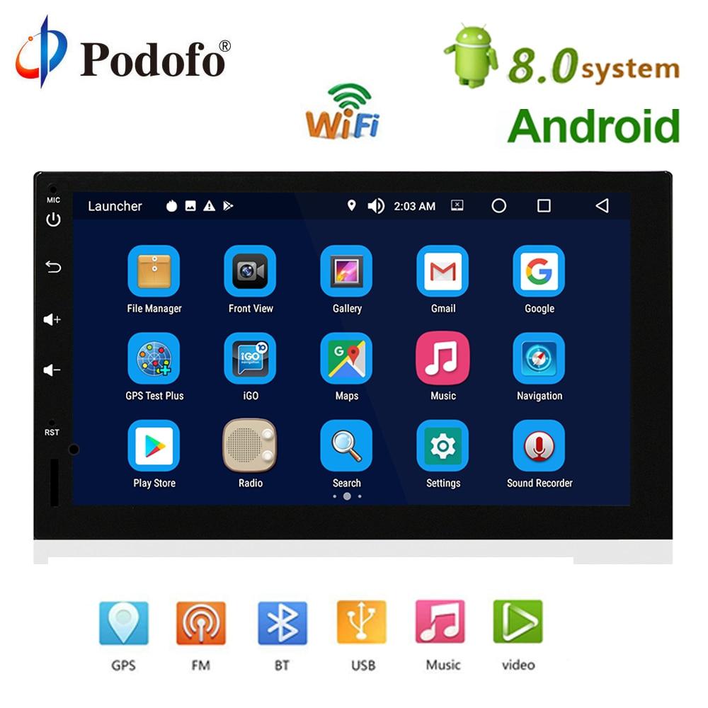 Podofo 2 din Android 8.0 Car Radio Stereo GPS Navigation Multimedia Player Bluetooth 2Din 7 Autoradio no DVD Wifi USB Audio DAB dste slb 10a 1300mah battery for samsung l100 l110 l200 l210 wb250f wb200f wb280f