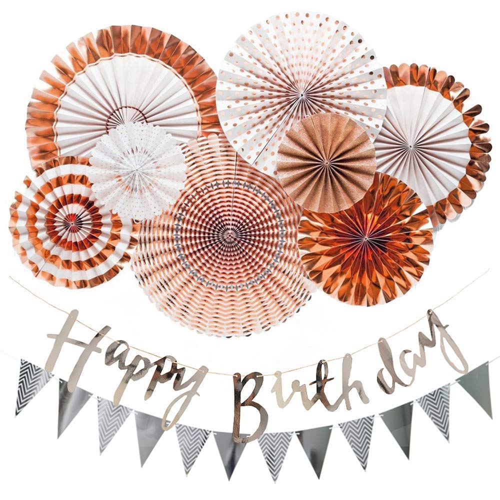 Rose Gold Paper Fan Hanging Decorations Set with Silver Happy Birthday Banners Pennant Banners for Party Supplies Baby ShowerRose Gold Paper Fan Hanging Decorations Set with Silver Happy Birthday Banners Pennant Banners for Party Supplies Baby Shower