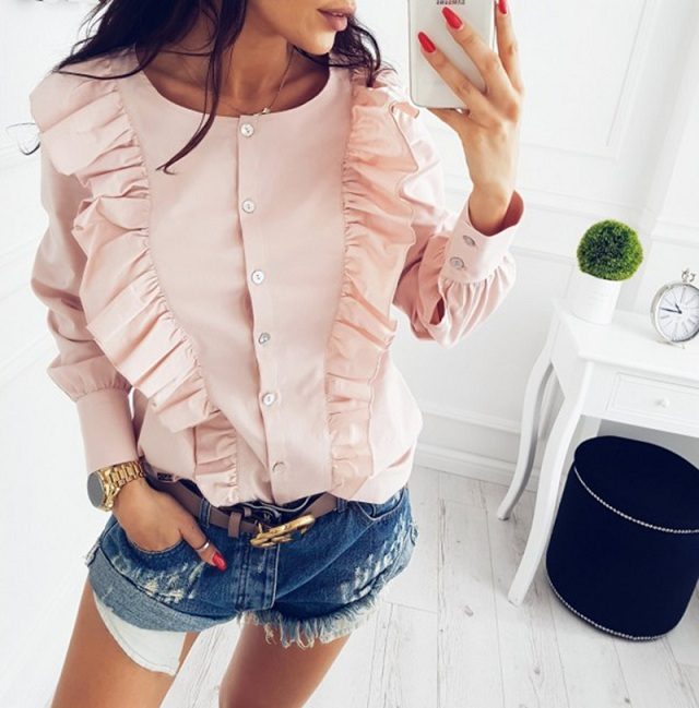 Women Summer New Fashion O-Neck Ruffles Long Sleeve elegant tops blue striped button blouse Casual Office work shirts 9