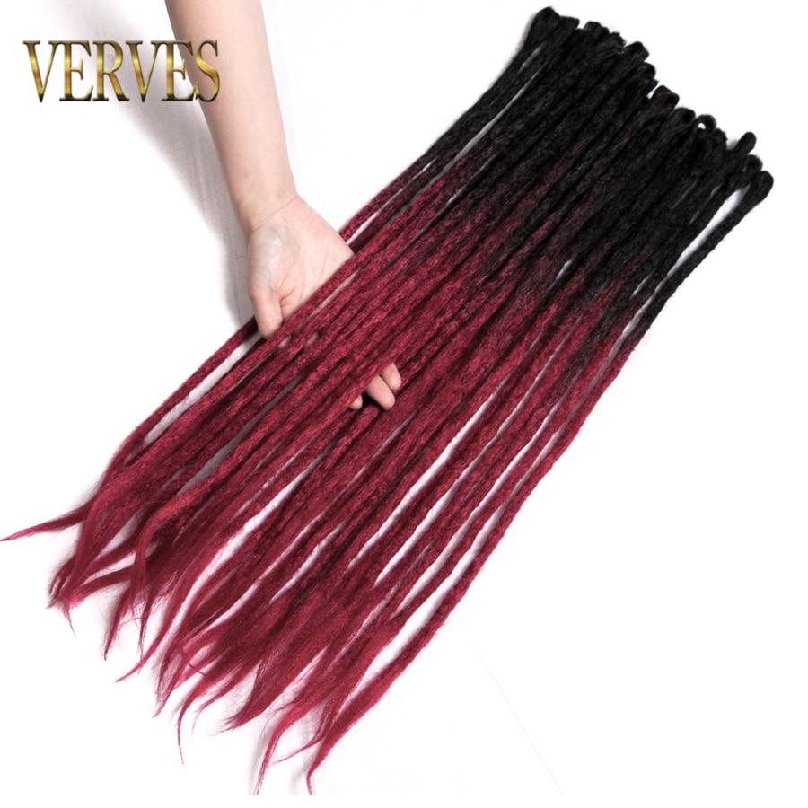 Verves Ombre Handmade Dreadlocks Hair Extensions 5 Strands/lot 24 Inch Crochet Hair Synthetic Crochet Braid Hair For Women Bug Home