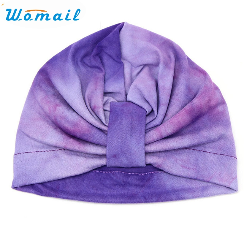 Womail Newly Design Cute Gradient Color Soft Skullies Kids Baby Girl Hospital Bohemia Turban Hat  161006 Drop Shipping skullies