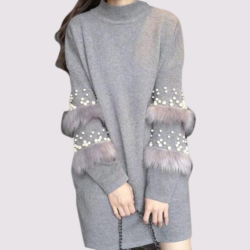Frühling Der Frauen Perlen Pullover Kleid Faux Pelz High Neck Langen Ärmeln Stricken Lange Jumper Oversize Pull Femme