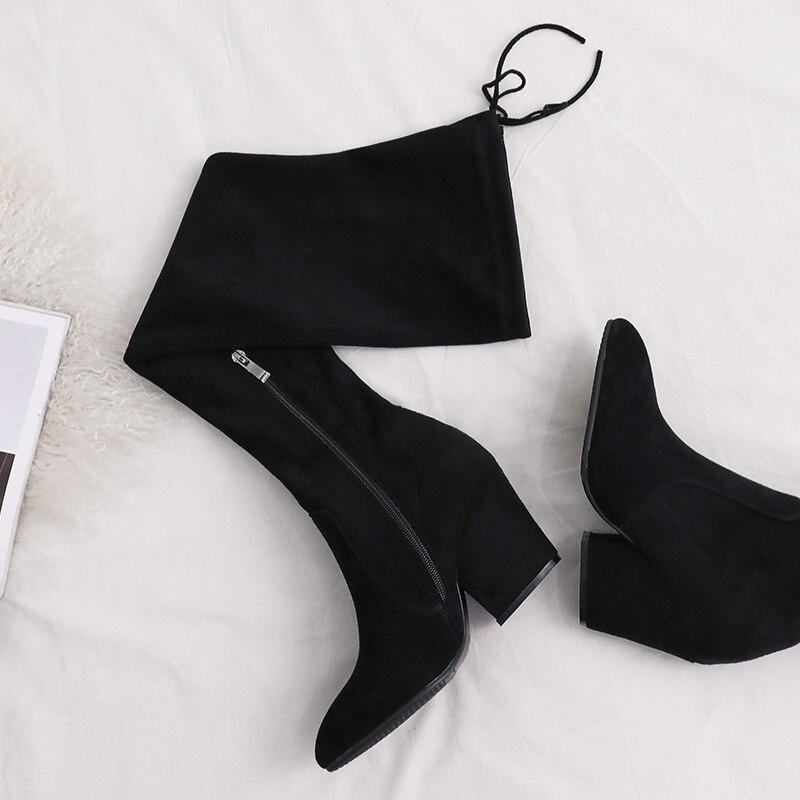 Sexy Hiver Genou Du Confortable Chaussures Med Noir Talon Véritable De Cuir Femmes En Bottes dessus Haute Black Dames Longues Slim Daim wzaA86nxq