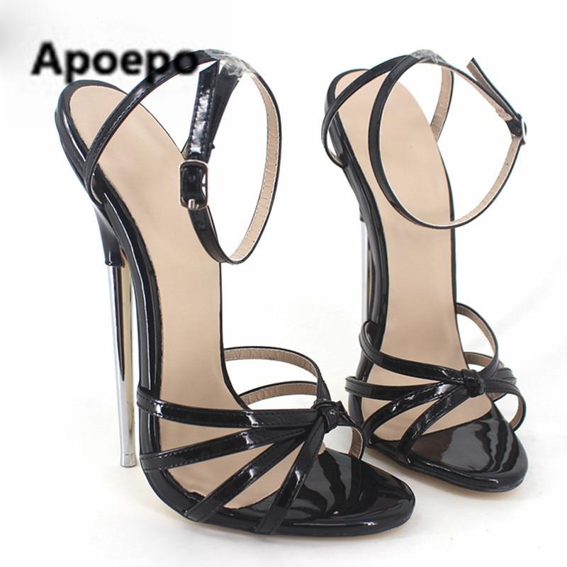 d2c5ea715a8a Sales women plus size 45 animal prints Leopard 18 CM stiletto shoes summer  metal thin heels extremely high heels sandals women