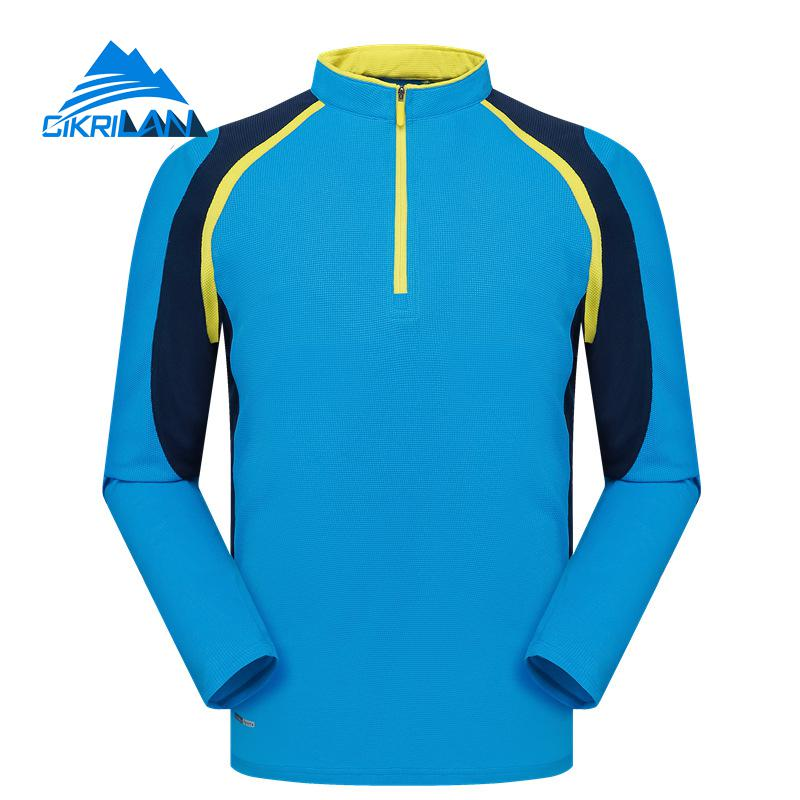 Hot Mens 1/4 Zip Quick Dry Wicking Long Sleeve Outdoor T Shirt Sport Fishing Cycling Hiking T-shirt Men Camping Running T-shirts