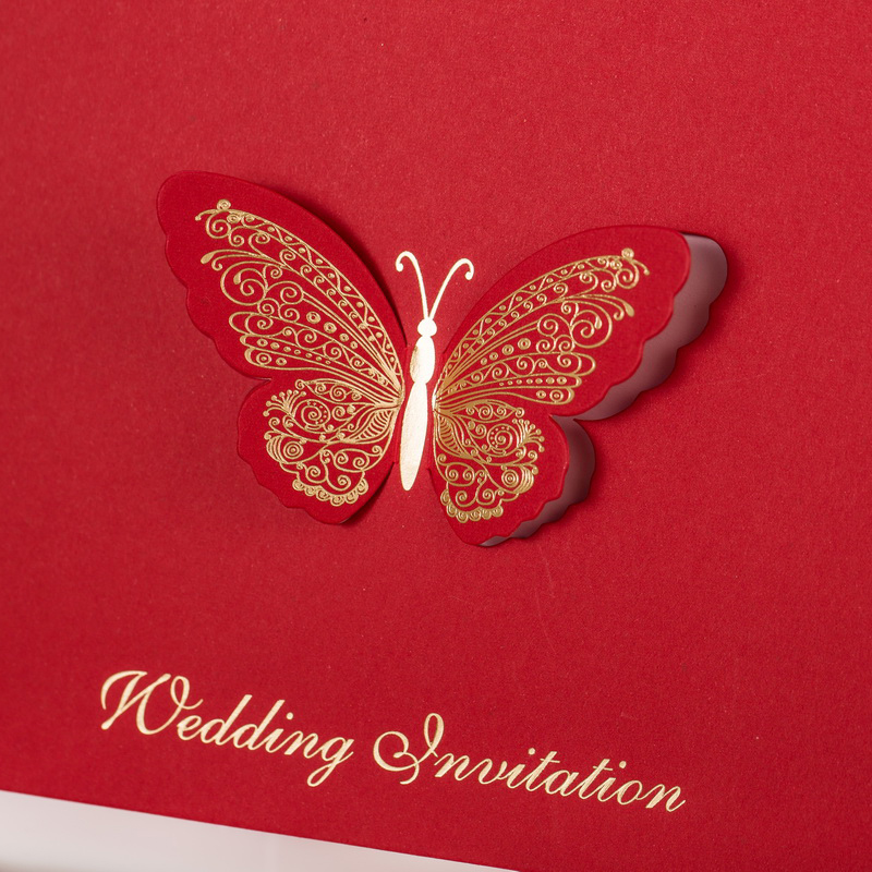50 pieces Chinese Red Happiness Wedding Invitation Card, Laser ...