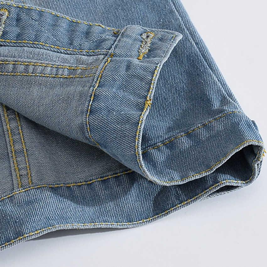 2019 Slim Fit ковбой мужской пиджак рваные мужской джинсовый жилет куртка без рукавов повседневное жилет для мужчин джинсовое Пальто 5XL