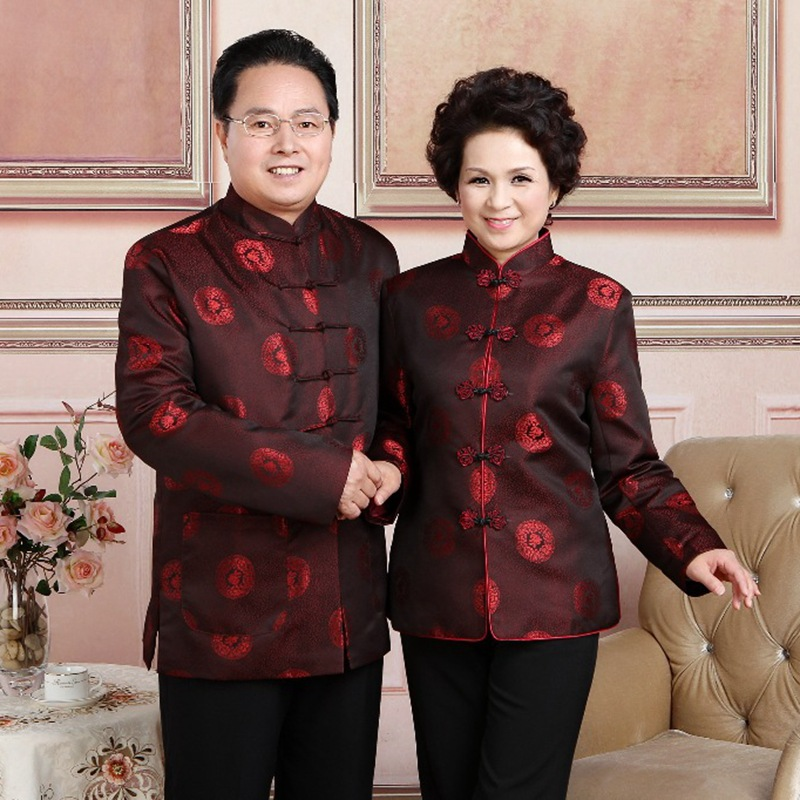 Elderly Sweethearts Outfit Men And Women Costume Long Sleeved Jacket Couples Dress Traditional Chinese New Year Cheongsam Coat