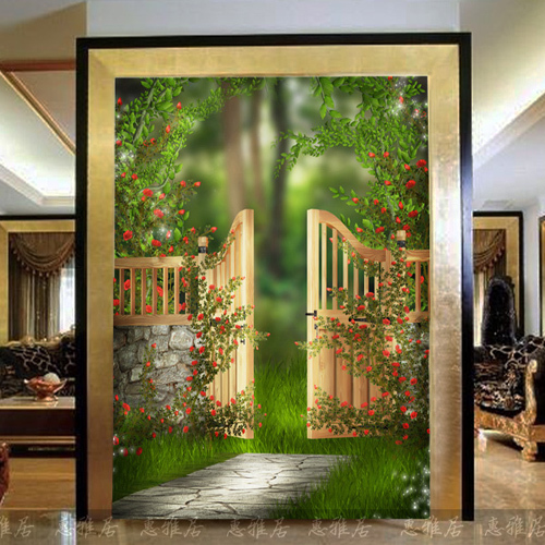 Env o gratis gran mural puerta de entrada sal n pasillo for Papel tapiz de patron para el pasillo