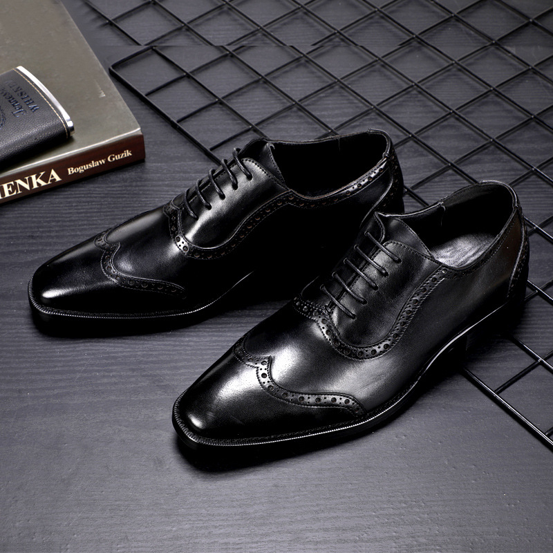 2019 Luxury Designer Classic Mens Brogue Shoes Pointed Toe Mens Dress Shoes Genuine Leather Comfortable Oxford Shoes in Formal Shoes from Shoes