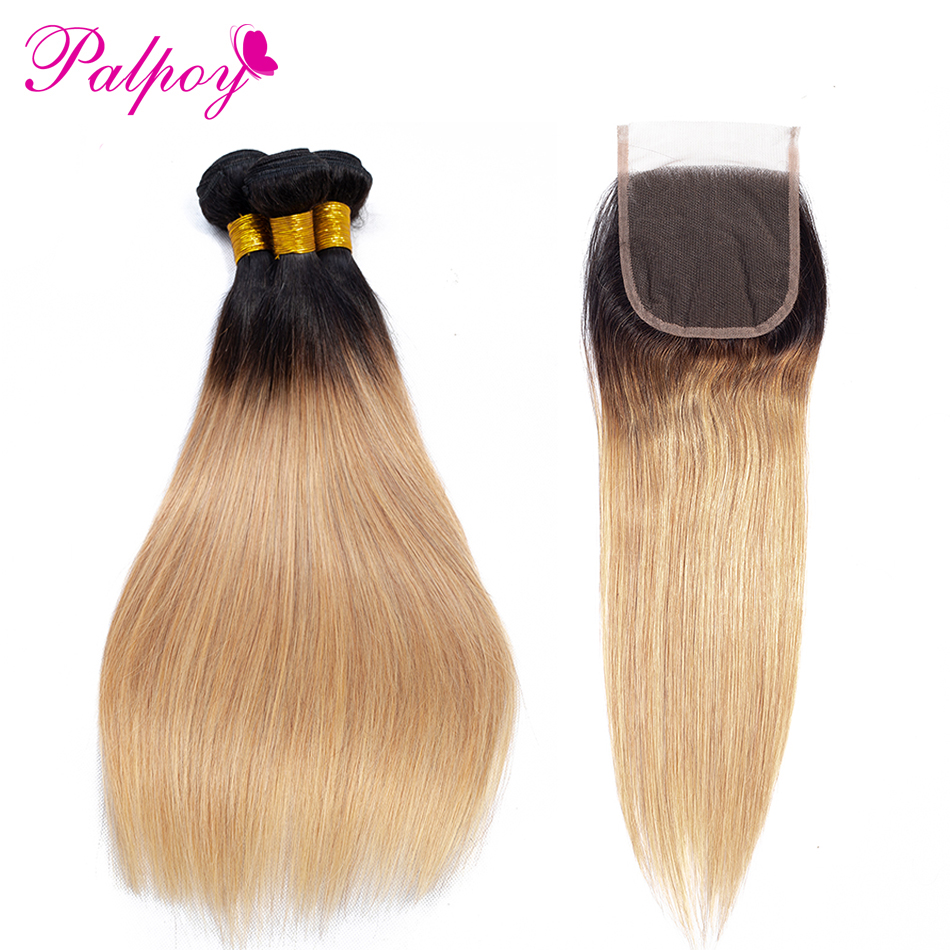 PALPOY 4PCS Malaysian Straight Hair Bundles With Closure Ombre T1B27 Two Tone Hair Bundles With 4*4 Lace Closure Non Remy Hair