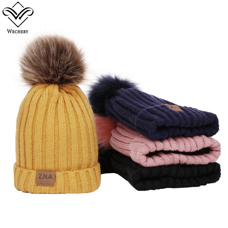 Wechery Kids Ball Cap Pom Poms Solid Pompom Cap for Baby Boys Girls Winter Caps Thick Extra Fur Hat Yellow Pink Black Navy