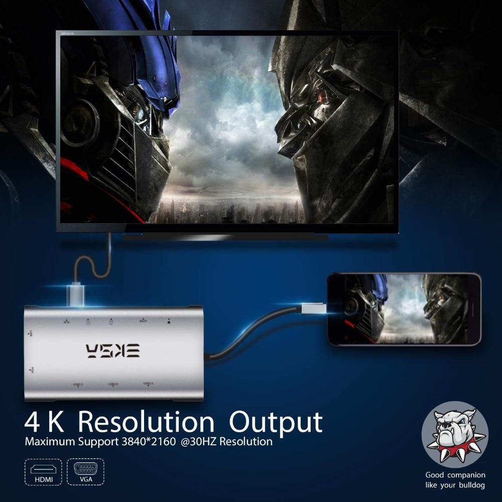 EKSA 10 en 1 USB Hub USB C con 4 K HDMI Puerto USB 3,0 SD/TF tarjeta lector VGA RJ45 Gigabit Ethernet para Dell/Samsung/Huawei P20 - 3