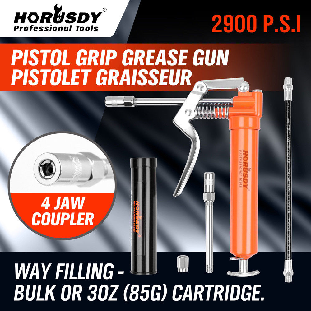 HORUSDY 120CC Mini Grease Gun Pistol Grip One Handed Grease Greasing Lube Tool For Auto Repair Lubrication Vehicle Hand Tool Set