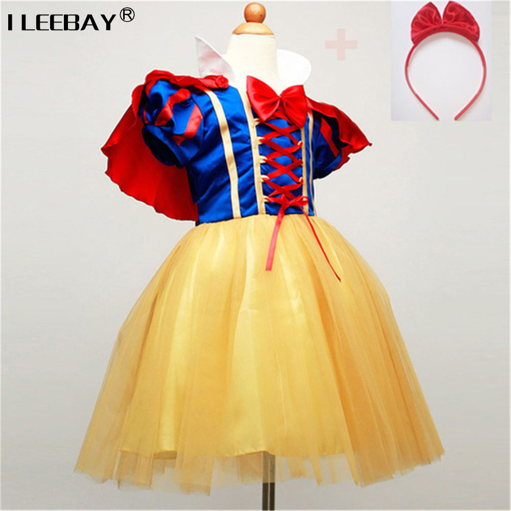 Children Cosplay Dress Snow White Girl Princess Dress Halloween Party Costume Children Clothing Sets Kids Clothes Girls Dresses 2017 rapunzel cosplay dress children girls long hair princess dress halloween costume clothes kids clothing with sleeves garland
