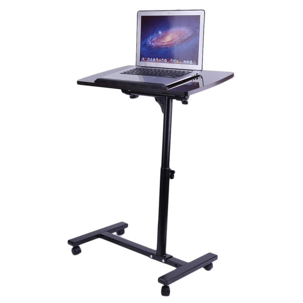Foldable Adjustable Overbed Rolling Table Over Bed Laptop Tablet Food Tray Hospital Desk With Tilting Top the food hospital