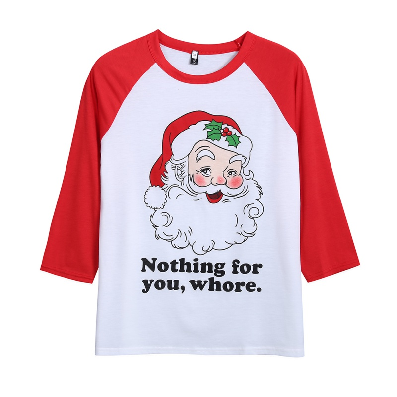 Christmas Santa Claus Letter Printing Long Sleeve O-neck T-Shirt Casual Loose Patchwork Colors Stitch Women tops