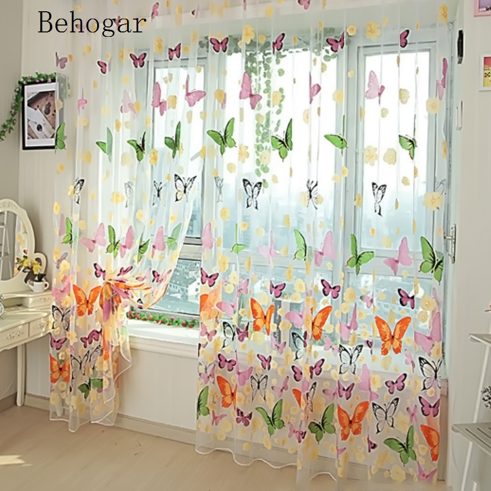 Curtain For Balcony: Behogar Butterfly Print Voile Sheer Curtains Wall Door