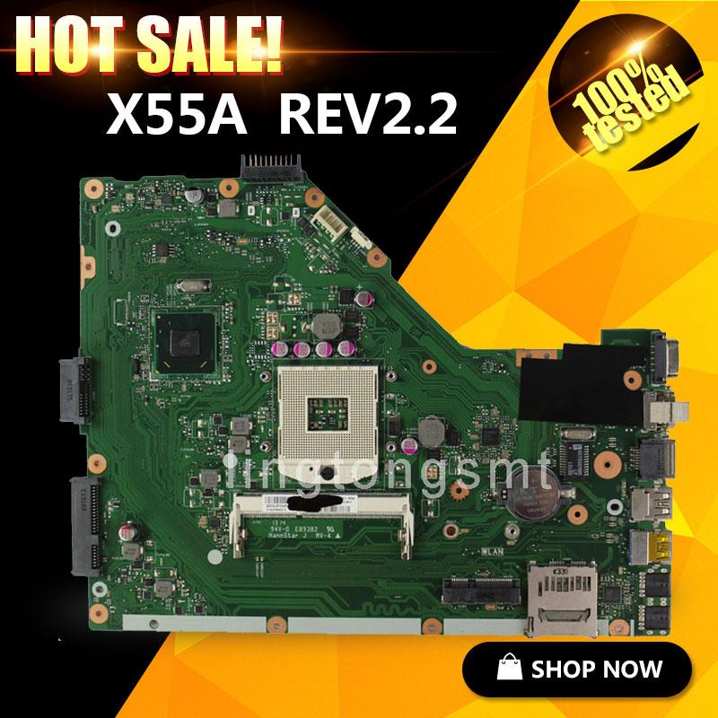 original X55A for ASUS laptop motherboard X55A REV2.2 HM70 PGA 989 SJTNV tested Ok for asus k52j k52jc rev 2 1 laptop motherboard system board 100% tested ok high quality original new