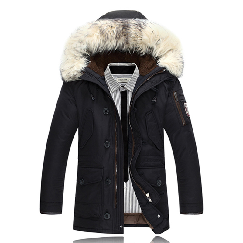 Down Coats Men Winter Jackets Mens Duck Down Coat Cashmere Fleece Parka Mans Jacket Coats Rabbit Collar Hooded Parkas Overcoats