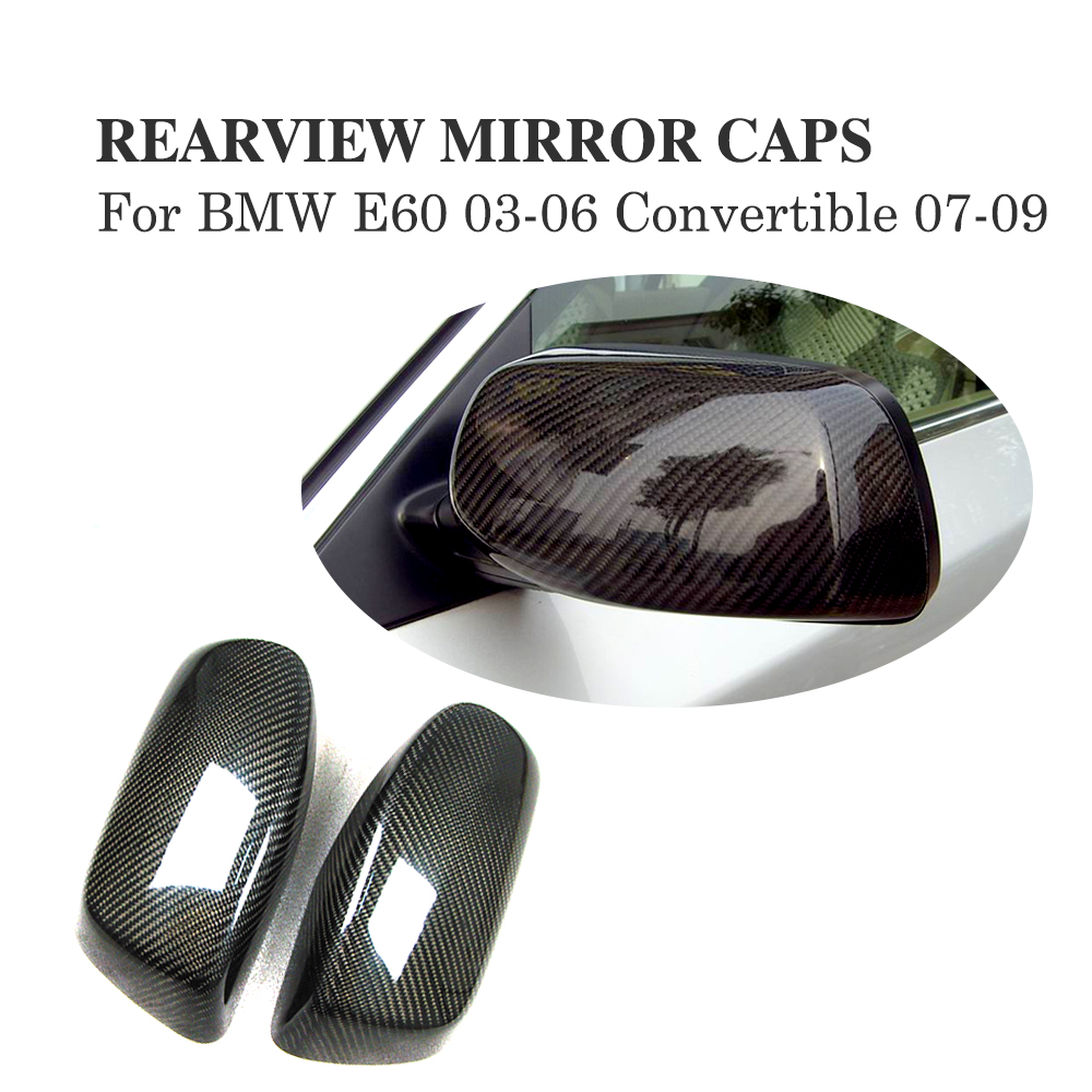 Carbon Fiber Side Mirror Covers For BMW E60 E61 E63 E64 03-06 Convertible 07-09 Add on style Rearview Mirror Caps Car Styling car styling carbon fiber side review mirror cover caps for bmw 550i 5series e60 2005 2008
