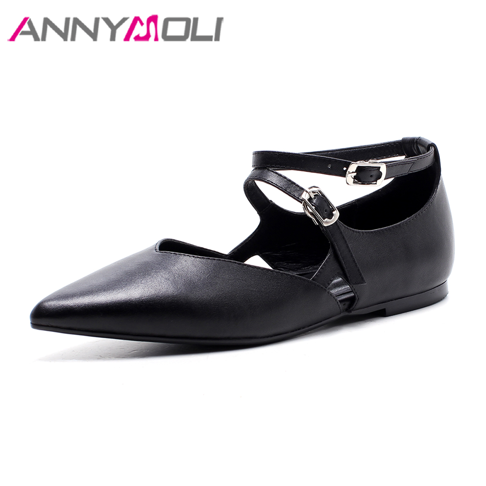 ANNYMOLI Genuine Leather Shoes Women Flats Pointed Toe Mary Jane Spring Black Bling Flats Buckle Strap Shoes Female Leather Flat pearl high heels shoes thick green women strange suede abnormal catwalk genuine leather pointed toe strap mary jane lace up