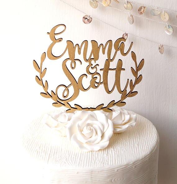 Topper do bolo de casamento, bolo topper personalizado rústico de madeira folha vorder topper